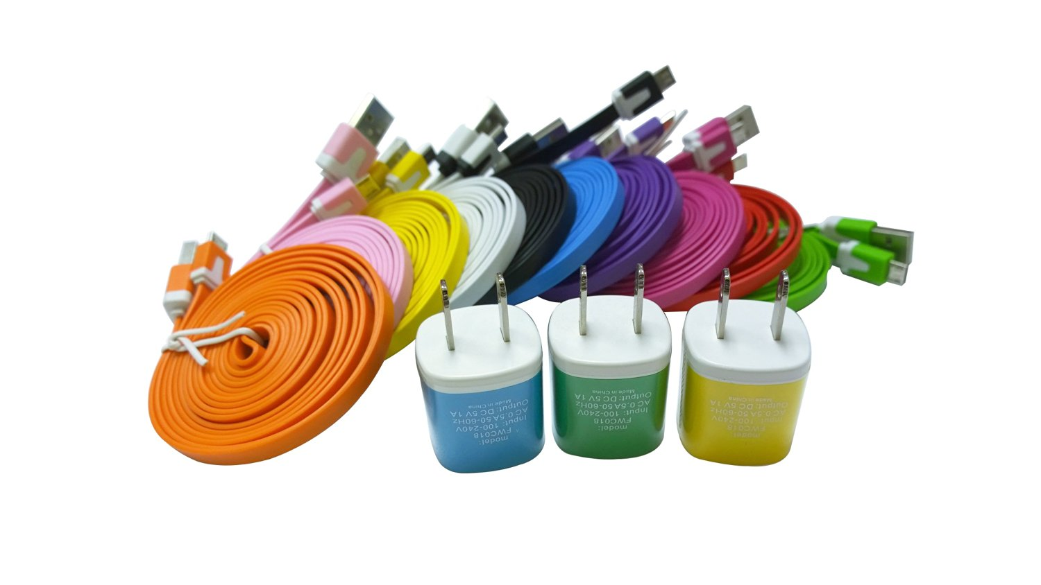 SUNYEE (10) Qty Rainbow Colors Micro USB to USB 2.0 Cables Data Sync Charger Flat Noodle Cable Cords for Samsung Galaxy S2 S3 S4 I9500 HTC Blackberry + (3) 2-Tone Sunyee USB AC Wall Charger (Mixed Colors (6 Ft. Cables))