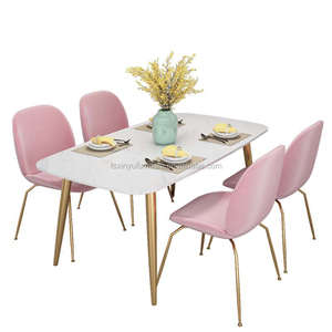 Square luxury marble top dining room table set and 4 chairs