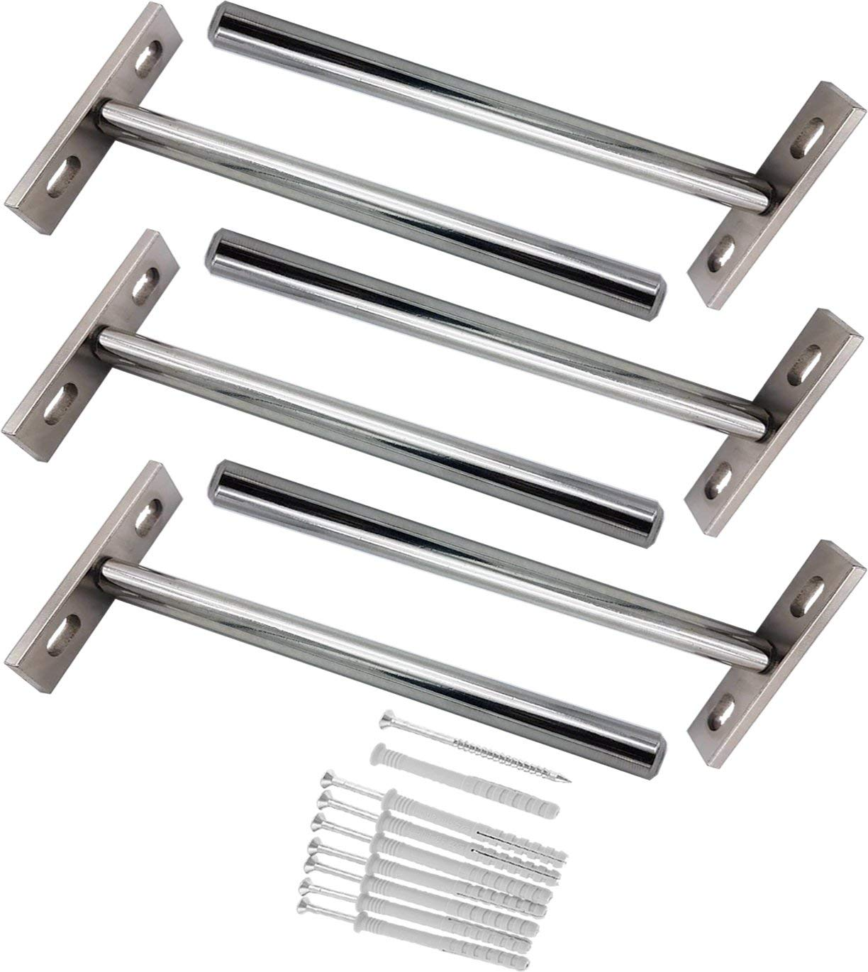 """5"""" Floating Shelf Brackets x 6 with Screws and Wall Plugs. Nickel Plated Solid Steel, Flush Fit Blind Invisible Hanging Fully Concealable Hidden Shelves Supports. Solid and Strong. Six Piece Set"""