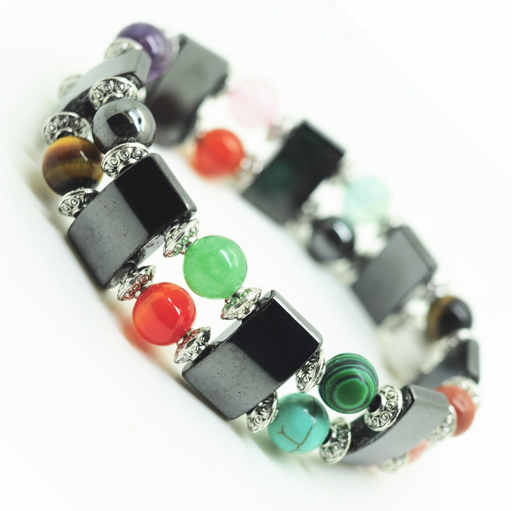 Magnetic Hematite Space Bracelet with alloy and 8MM Round Beads Colorful Jewelry Valentine's Day Gift for Husband