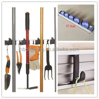 Aluminum 5 Position Garden Tools Holder Wall Mount W/4 Hooks