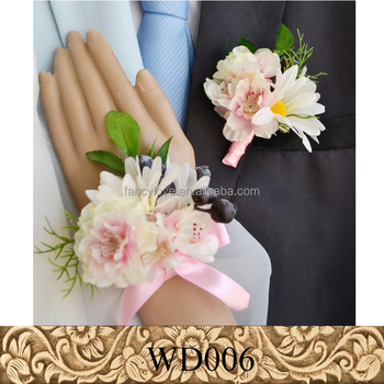 Artificial Wedding Groom Corsage Silk White Flower Corsage For