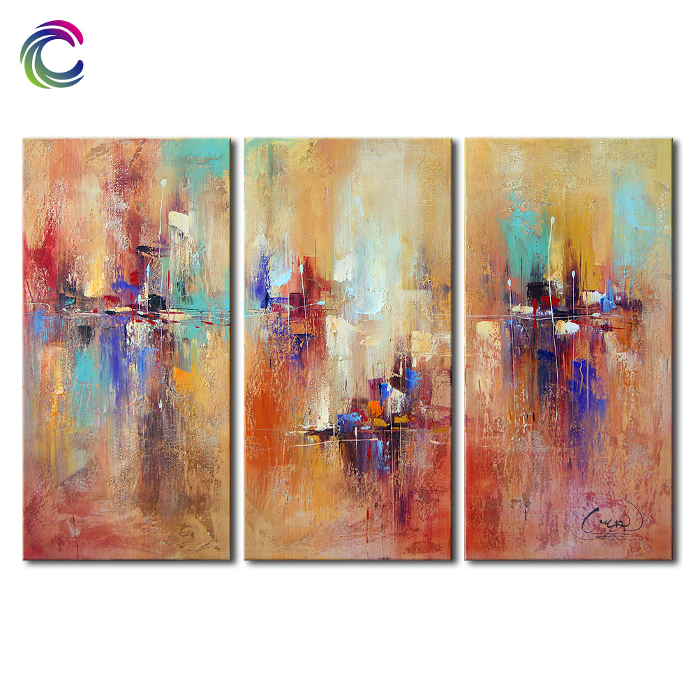 Modern yellow vertical fresh paint wall art abstract painting