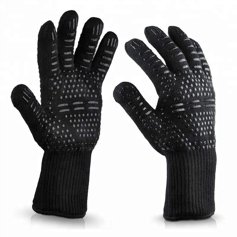 932F Silicone Insulated Barbecue Baking Cooking Grill Oven Mitts Heat Resistant Safety BBQ Gloves