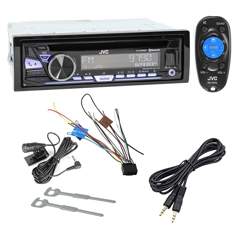 JVC KD-RD88BT Single DIN Bluetooth In-Dash CD/AM/FM Car Stereo w/ Pandora Control and iHeartRadio compatibility + Mini to Mini Audio Cable