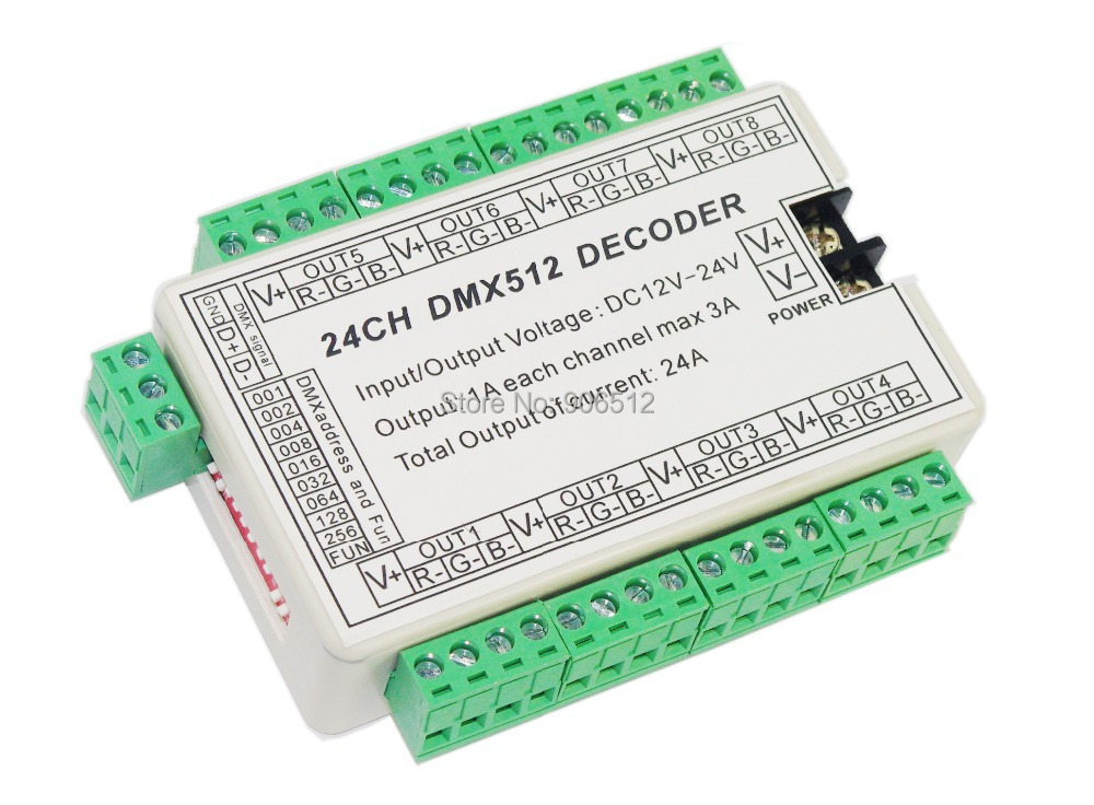 10 pieces Free Shipping 24CH Easy dmx512 decoder,LED DMX  dimmer Controller,24 channel dmx 512 dimmer,24ch dmx drive