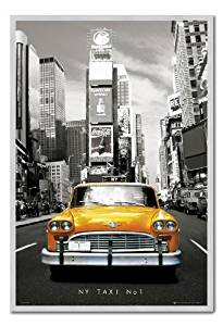 Iposters New York Poster Yellow Taxi In Times Square Cork Pin Memo Board Silver Framed - 96.5 X 66 Cms (approx 38 X 26 Inches)
