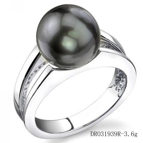 Black Pearls Jewelry Pearl Ring Sterling Silver Engagement Ring DR031938R