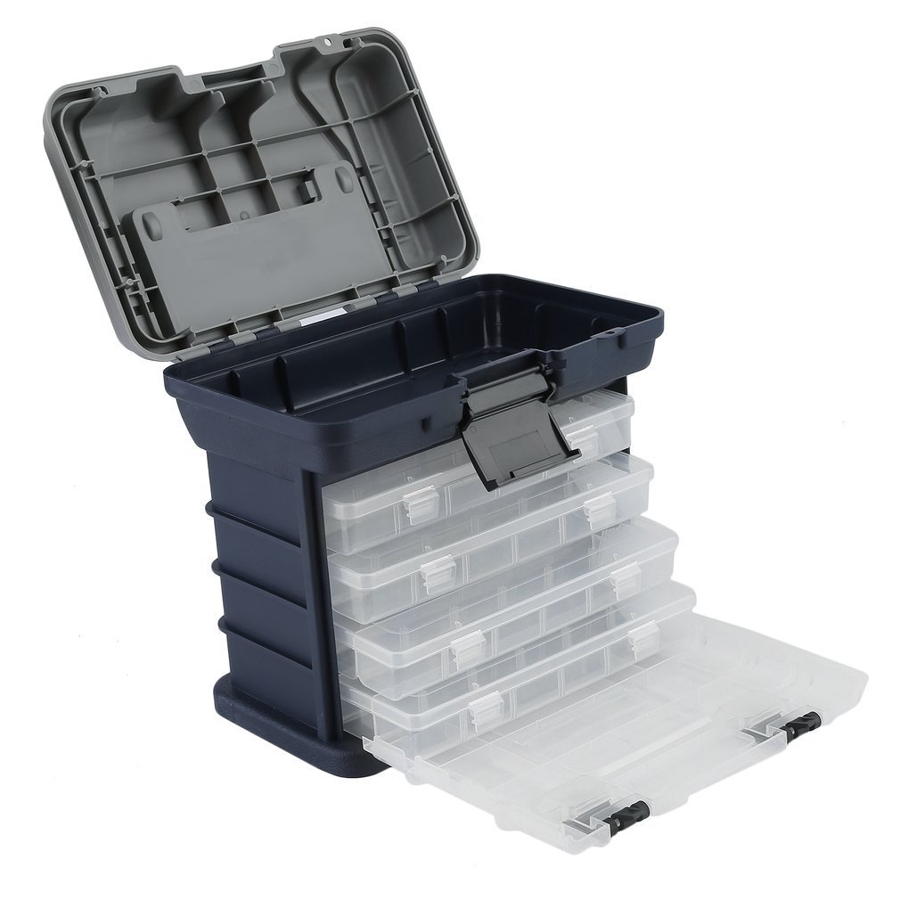 Belovedkai Tackle Systems Fishing Tool Box Fishing Tackle Box 4 Drawer Tray Bait Case, Lures Storage, Fishing Accessories