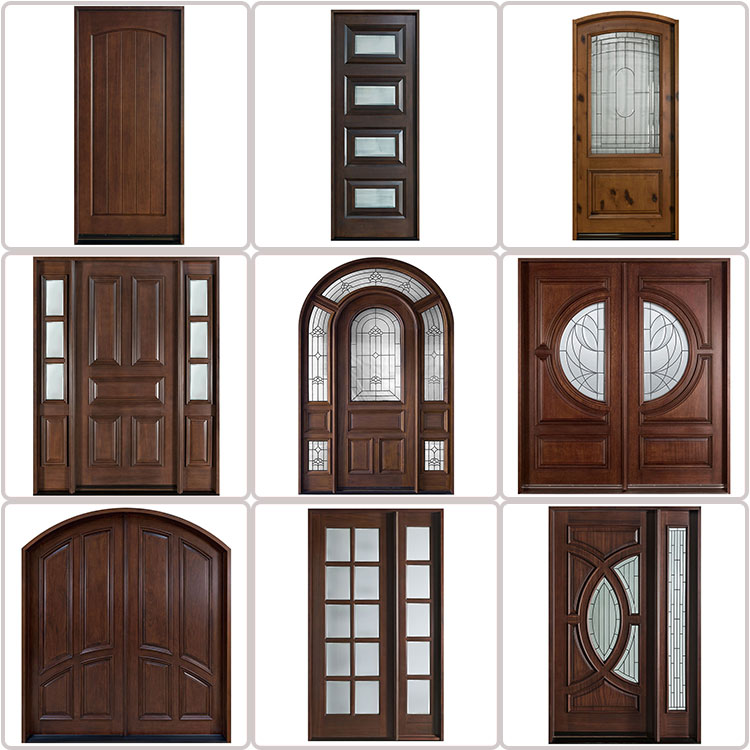 Best Quality Sound Proof Tempered Glass Used Exterior Wooden French Doors for Sale , Customized Mothproof Pocket Door
