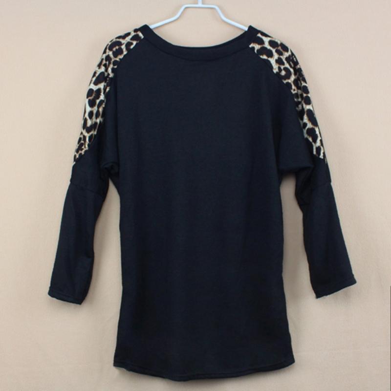Горячая распродажа женщины дамы леопардовым принтом с длинным рукавом свободного покроя широкий майка осень весна топы белый черный шею нижняя рубашка фули
