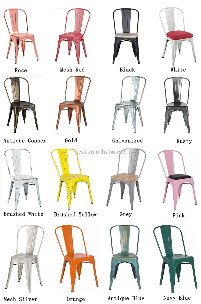 Different colors vintage industrial furniture stacking for Different color chairs