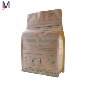 Bio-gradable flat bottom Craft paper bag for coffee /food packaging with zipper