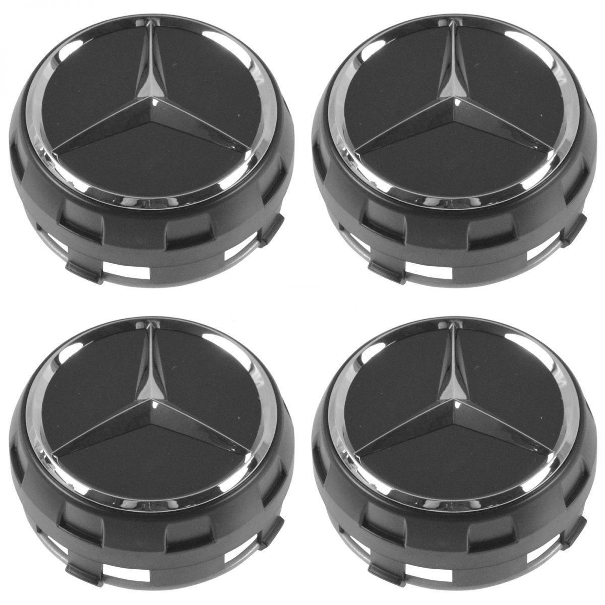 Fits-OEM Raised Chrome & Black Wheel Center Cap Set of 4 for Mercedes Benz