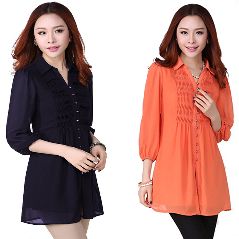 6xl Plus Size Long Shirt blousa Loose Casual Blouses & shirts Women lady Clothing Tops Chiffon Blouse shirts free shipping WY565