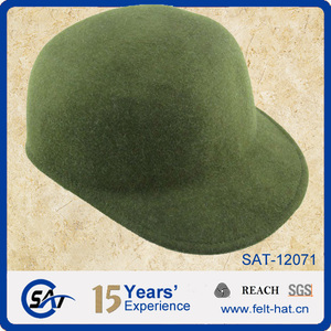 Unisex Green 100% wool felt fitted hats 390f26b1837a