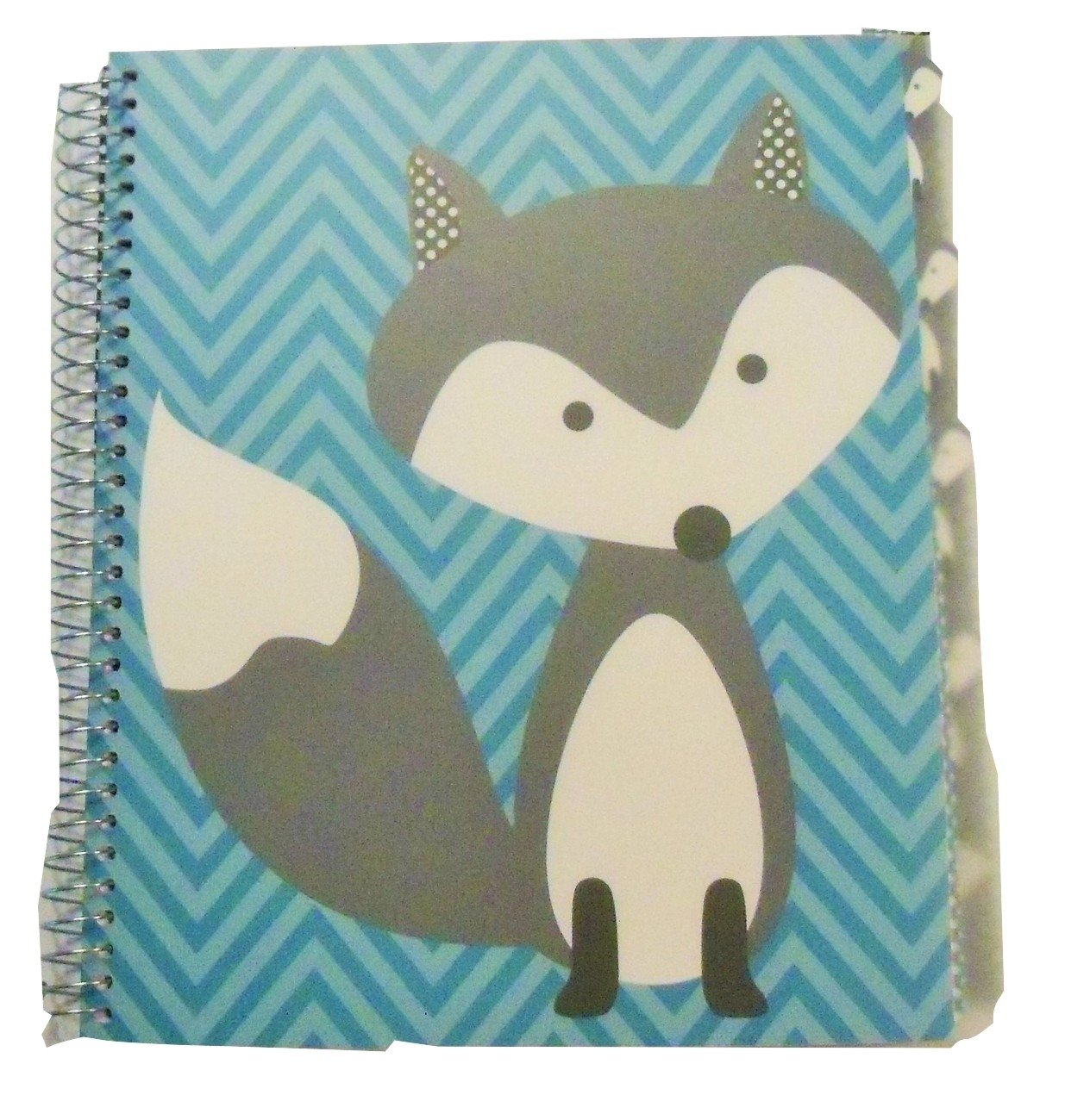 Carolina Pad Studio C College Ruled Poly Cover 5-Subject Spiral Notebook ~ Hair of the Dog (Fox on Blue Stripes; 150 Sheets, 300 Pages)