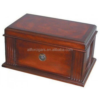 Walnut finish spanish cedar antique cigar humidor for tobacco storage