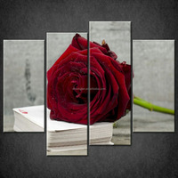 Art pictures prints larger sizes available set of 4 split rose cards canvas wall decor