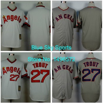 brand new 422de bdfe7 Los Angeles Angels Jersey 27 Mike Trout Jersey White Grey ...