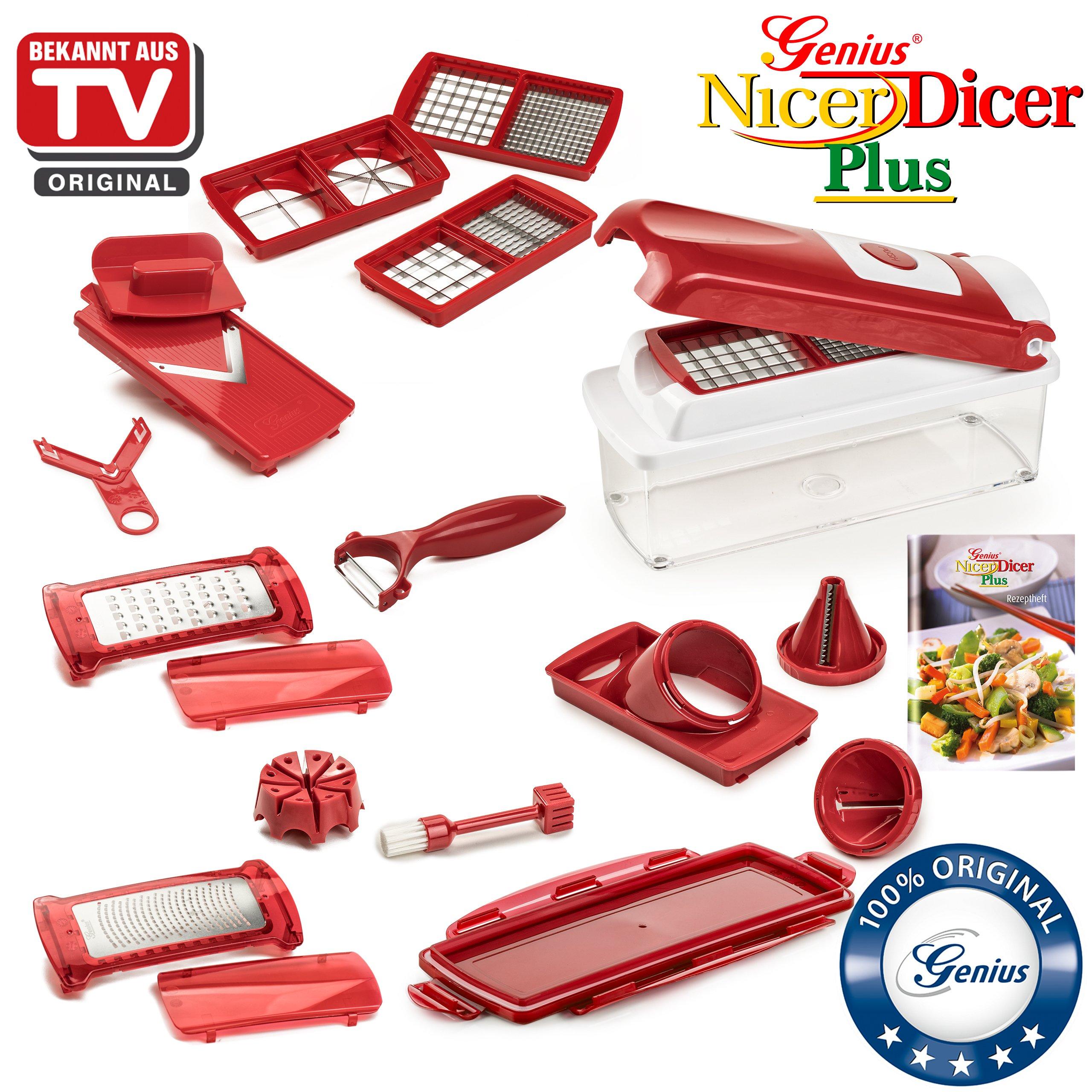 Nicer Dicer Plus by Genius 18 pieces | Fruit vegetable slicer | Food-Chopper PRO| Mandoline | Potato, Tomato, Onion | Kitchen-Cutter Dicer | Stainless Steel |Spiralizer | Spiral Slicer | As seen on TV