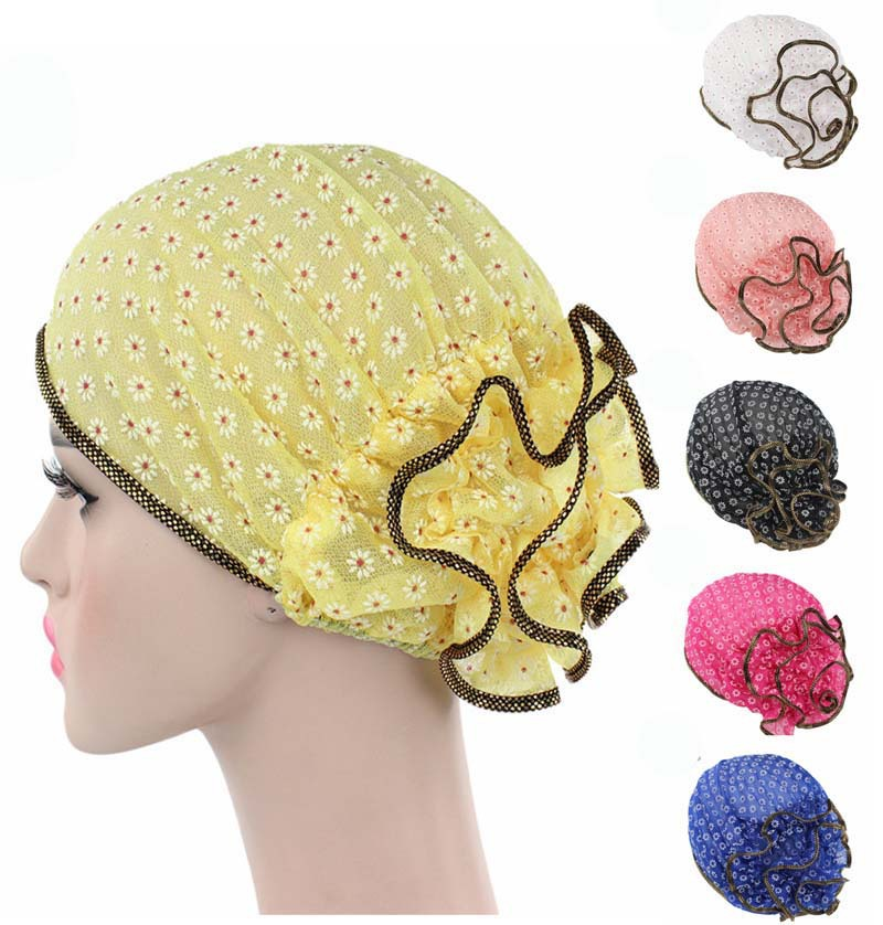 X62083A Spring Summer Floral Lace Lady Turban Hat Cap Hairnet Muslims Chemo Cap