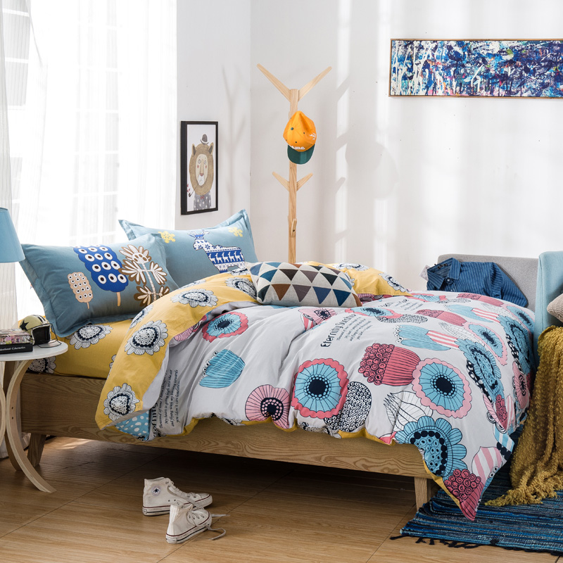 Cotton Bedsheet Beautiful Color Combination Yellow Grey White Great Quality Top In Price Kids Room