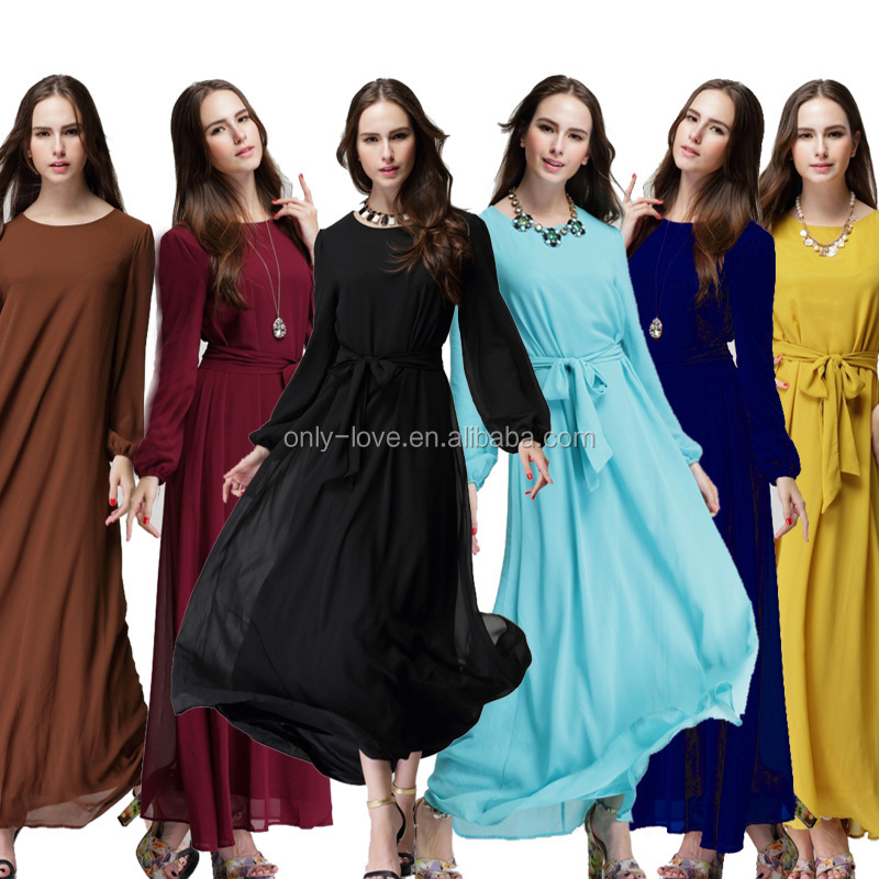 Fashion Muslim chiffon Long Dress islamic Abayas Arab Dubai Kaftan Jilbab Women Caftan CP023