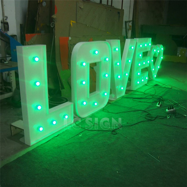 High quality LED front lit large bulb letter signs/wedding decoration light up letters for sign