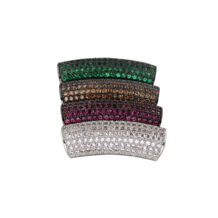 Wholesale cheap silver curved rhinestone micro pave tube beads to make bracelet necklace jewelry