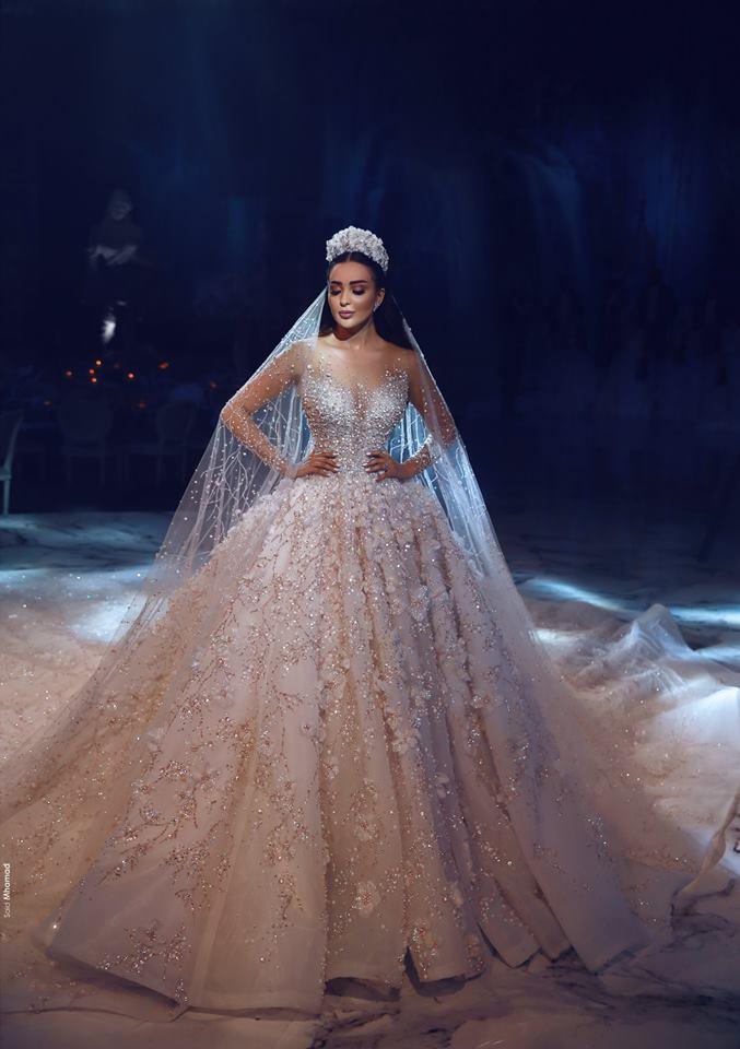 a0ec48ba5 2019 أحدث بلينغ دبي الزهور الدانتيل فستان الزفاف الفاخرة الخرز الكريستال  شفافة طويلة الأكمام الكرة أثواب