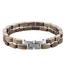 Fashion Mens Jewelry Silver Hand Bangles Polished Unisex Dark Wood Stainless steel Bracelet