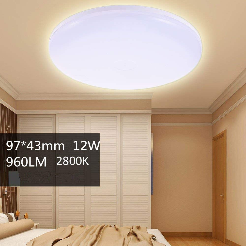 12W Round LED Ceiling Down Light 960LM Warm White Fixture Ceiling Light Wall Lamp Lamp Ceiling Lamp Wall Light for Home Office Hotel Panel Bathroom Kitchen Light