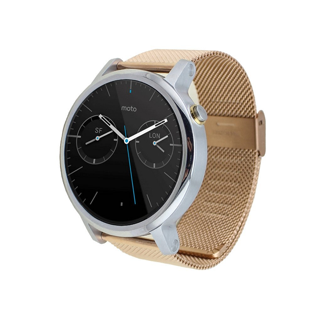 Moto 360 2 Watch Replacement Band (2nd Gen, 46mm 2015 MEN'S), DAYJOY Premium Stainless Steel Watch Strap Bracelet Milanese 22MM WIDTH Wrist Band for Moto 360 2 46mm Smart Watch (ROSE GOLD)