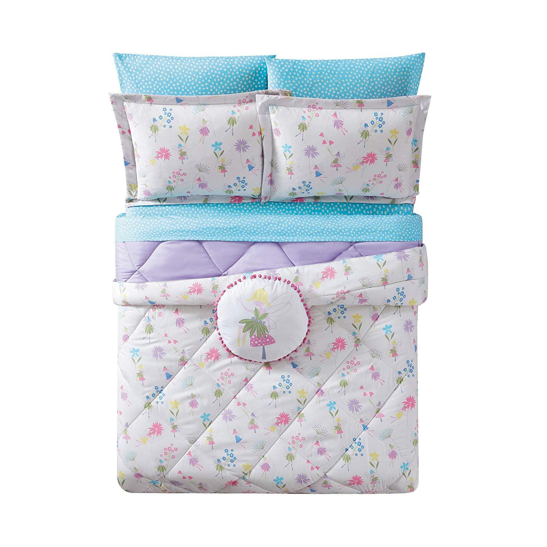 Unkk 3 Piece Girls White Purple Pink Flower Garden Faires Themed Comforter