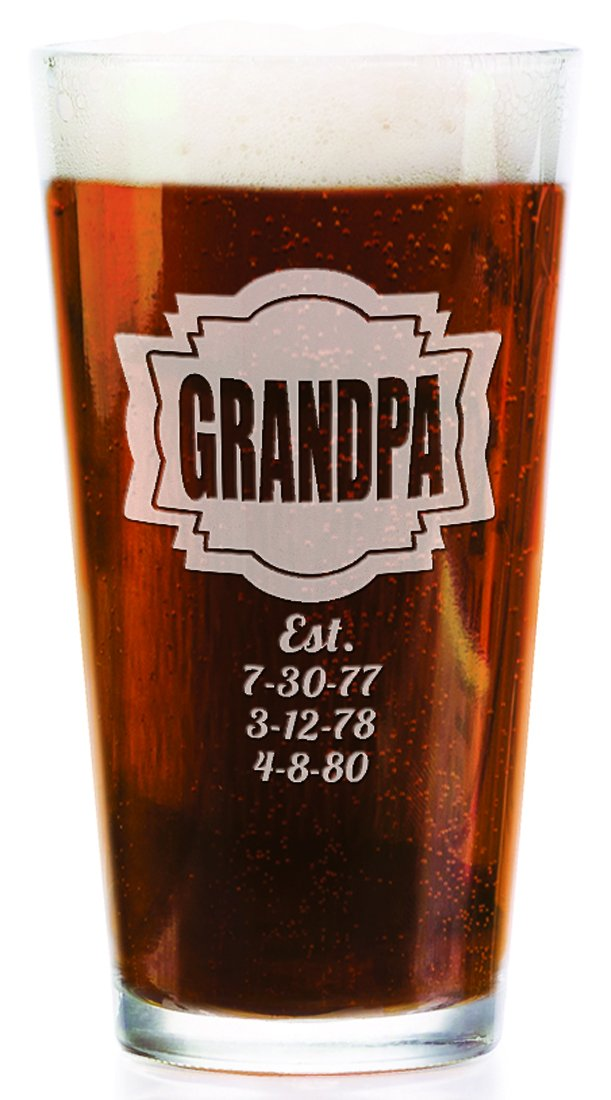 Grandpa Dad Shield with kids Birthdates Personalized 16 Oz Engraved Pub Glass Fathers Day Daddy Dads Papa Father Grandpop Gift Idea Pub Beer Glass