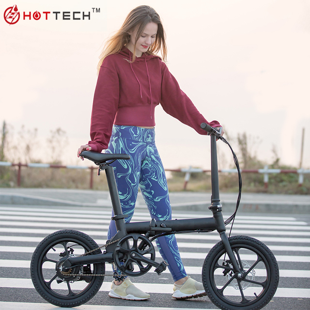 "HOTTECH 5 Classes PAS CE Certificate 16"" Fire Wheel Portable 36V Folding Electric Fold up Bicycle"
