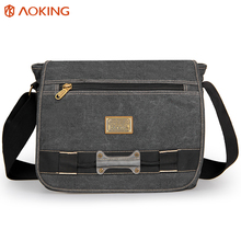 Aoking 2017 Men's Casual Business Canvas Messenger Bag Men Canvas Shoulder Bags Large Capacity Crossbody Bags for Teenagers