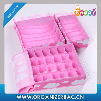 Encai New Style Foldable Underwear Storage Boxes 3pcs/set Wholesale Underpant & Socks Organizer Box with Lid