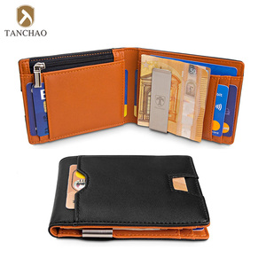 Slim Zip Coin Pocket Card Holder Multifunction Leather Men's Wallet with Metal Money Clip