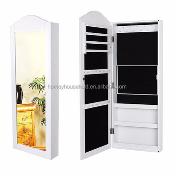 Mirrored bedroom wood furniture jewelry storage wall mounted cabinet