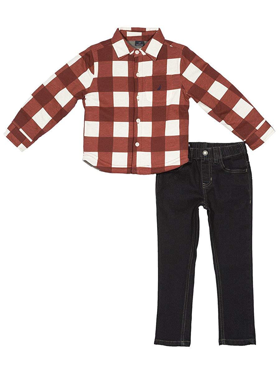725ba9144 Get Quotations · Nautica Boys' Long Sleeve Shirt Jacket and Denim Pants Two  Piece Set