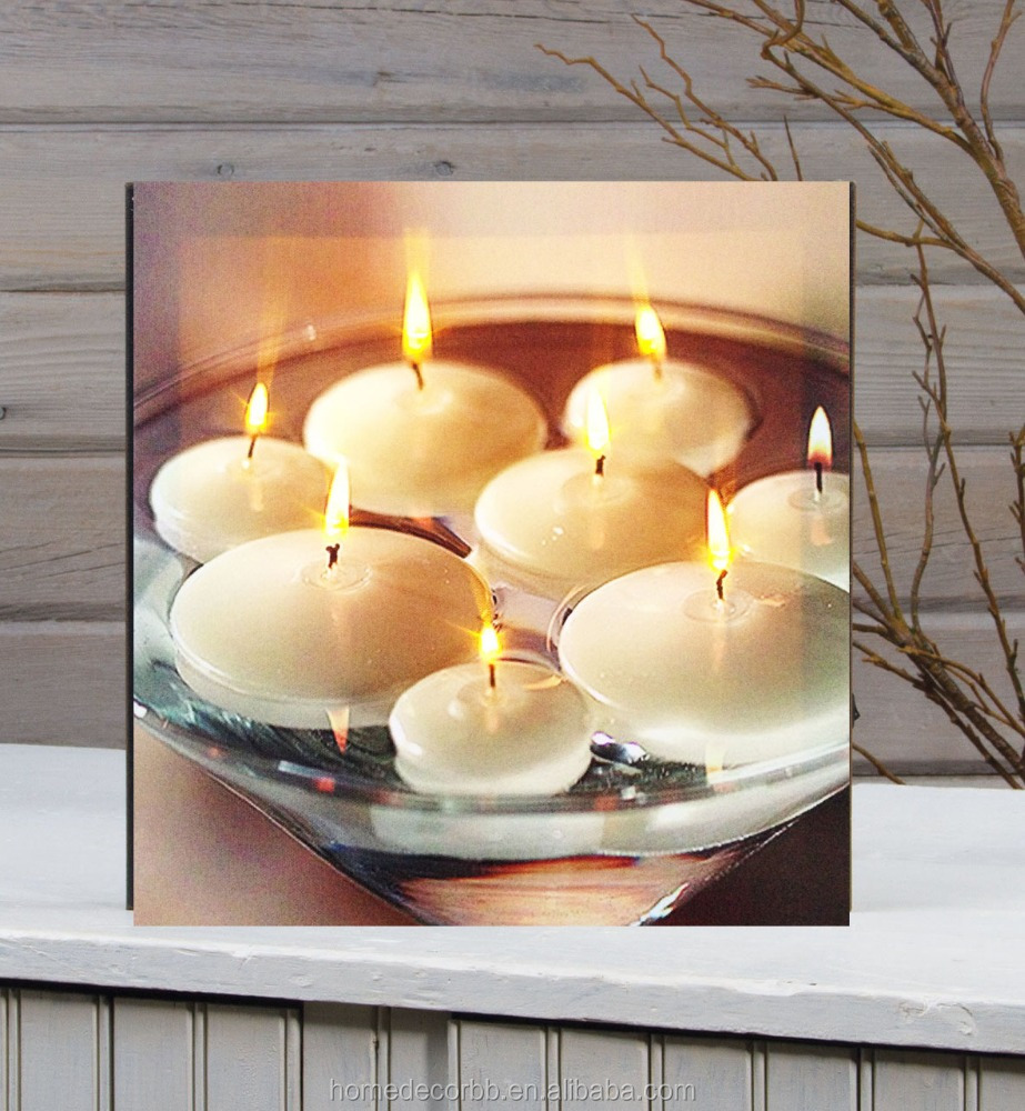 Wall Art With Led Lights Canvas Print Lighted Candle Picture, Wall ...
