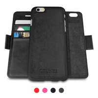 C&T Detachable Card Slots Holder Leather Wallet Mobile Phone Case for iPhone 6S Plus