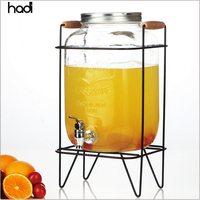 Chinese restaurant decoration supply factory price 1 gallon beverage drink dispenser square glass juice dispenser with tap