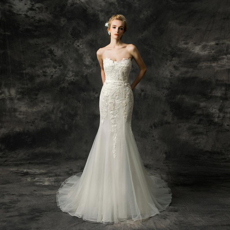 Strapless Beautiful Lace Mermaid Tail Bridal Dress 2018 Wedding ...