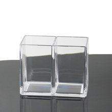 Настольный карандаш ручка органайзер для кистей акриловый 2 слота косметический держатель для кистей органайзер для макияжа прозрачный де...(Китай)