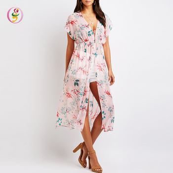 OEM Service Sheer Chiffon V Neck Floral Print Side Slits Short Sleeve Tunic