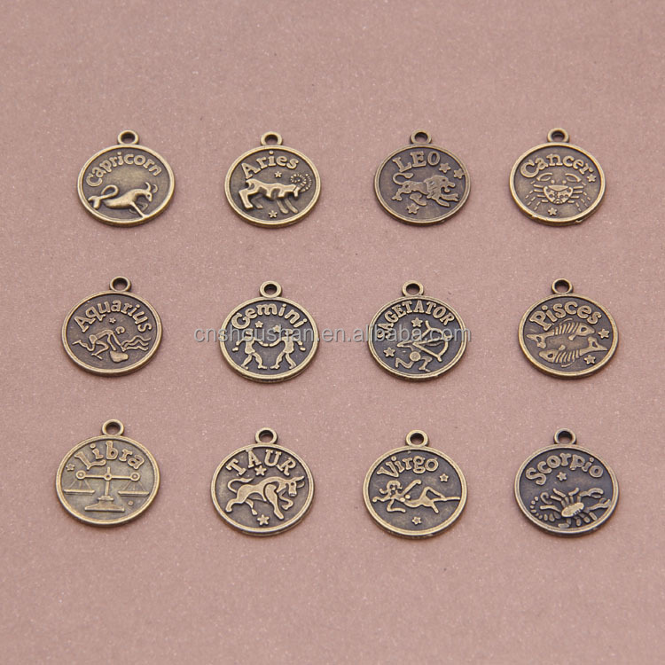 Antique bronze 12 zodiac signs double pattern accessories wholesale custom charm 16mm * 16mm