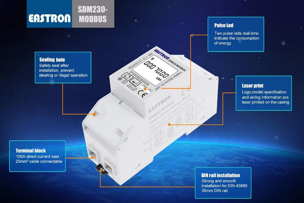 sdm2 30-modbus mid single phase din rail smart energy meter, rs485 modbus,